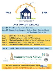 Patton Park Concert Schedule Town Of Hamilton Ma